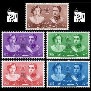 1801 - تمبر ازدواج محمدرضاشاه پهلوی و فوزیه